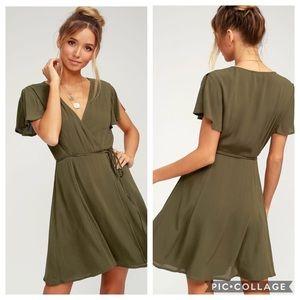 Lulu's | Olive Green Harbor Point Wrap Dress